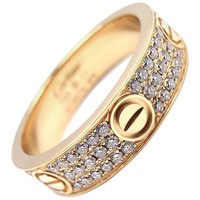 Cartier Love Diamond Paved Yellow Gold Band Ring