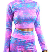 Holographic Long Sleeve Crop & High Waist Shorts Set