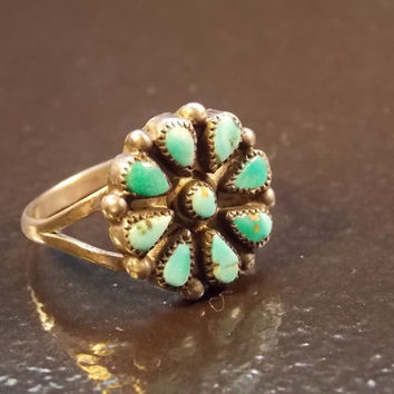 Native American Sterling Silver Ring with Petit Point Turquoise  - Size 6.75 - 2.2 grams