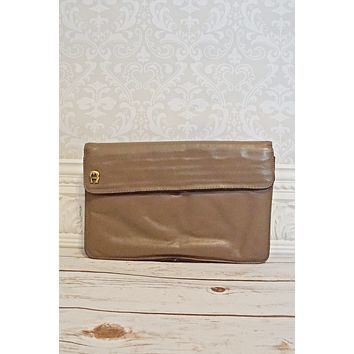 Vintage 1980s Etienne Aigner + Taupe Clutch