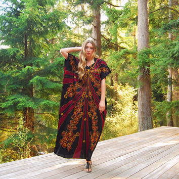 70s Embroidered Caftan Dress, Boho Maxi Dress, Ethnic Hippie Dress, Black Red Batik Floral Psychedelic Dress, Vintage Indian Cotton Dress