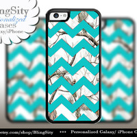 Monogram iPhone 5C 6 6 Plus Case White SnowCamo Aqua Teal Chevron iPhone 5s 4 case Ipod Real Tree Personalized Country Inspired Girl