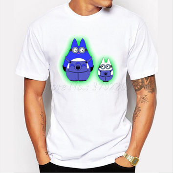 Asian Size fashion men cartoon printed t-shirt short sleeve casual male funny cool tops Spirit Minions Baymax minion tee shirts