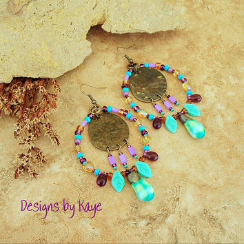 Big Bold Tribal Earrings, Large Rustic Beaded Hoop Earrings, Scorched Earth Ceramic Dangles, Colorful Bohemian Designs by Kaye Kraus