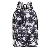 Stylish Lightweight Leaf Print Canvas College Backpack Daypack