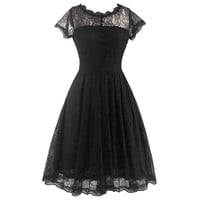 Summer Woman Sexy Big Peplum Lace Slim Dress   black   S