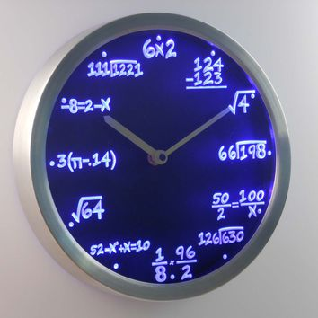 Math Class Algebra Formula Mathematics Neon LED Wall Clock
