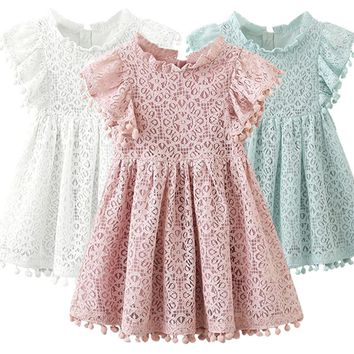 Kids Girl Ball Gown Dress White Toddler Girl Summer Lace Dress 6 7 8 Year Princess Birthday Party Dress Children Clothing