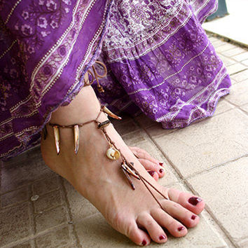Bohemian clothing sandal beaded with mothe of pearl and shel, Barefoot hippie sandals,barefoot sandles, barefoot sandals, bare foot sandals,