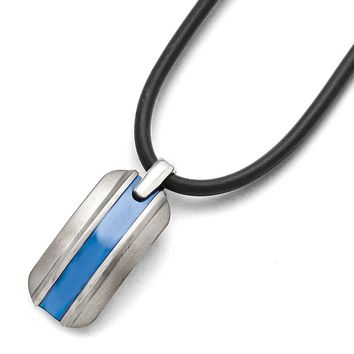 Men's Titanium Grey Ti Brushed Blue Anodized Rubber Cord Necklace