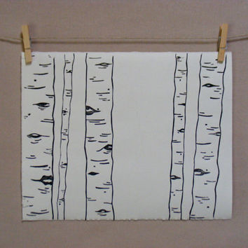 Woodland Birch Trees  Hand Printed Art  by WoodenSpoonEditions