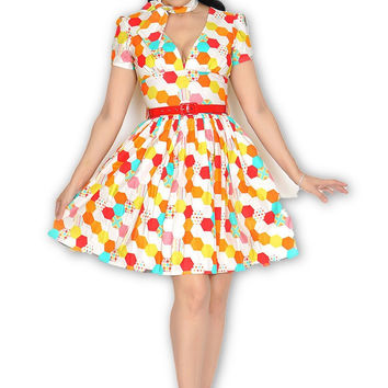 Sloan Square Dress in Technicolor Honeycomb
