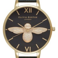 Olivia Burton 'Molded Bee' Leather Strap Watch, 38mm | Nordstrom