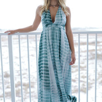 Mermaid Kisses Sage Tie Dye Maxi Dress