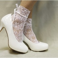 FT5 White Stretch Lace Baby Doll Anklet-lace socks for heels,lace socks from pumps, lacey anklets, boat socks, lace socks, lace peep socks, footlets, peep toes, lace sock, sexy socks, footies, no show socks, sexy stockings, ladies socks, wedding shoes,