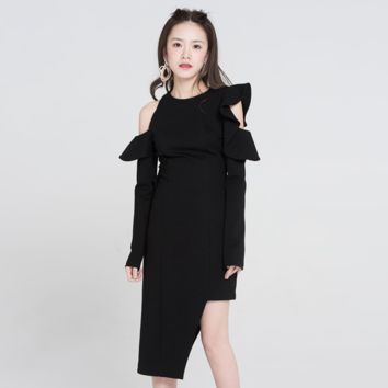 Sexy Black Round Neckline Long Sleeves Cold Shoulder Asymmetrical Hem Dress