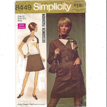 Simplicity 8449 Pattern for Misses' Designer Fashion Dress, Jacket, Sz 10, From 1969, Home Sew Pattern, Vintage Pattern, 1969 Fashion Sewing