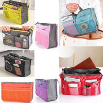 Practical Handbag Purse Nylon Dual Organizer Insert Cosmetic Storage Bag [7942913927]