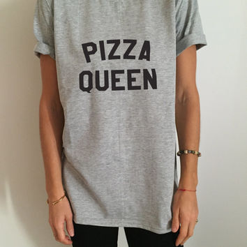 pizza queen Tshirt gray Fashion funny slogan womens girls sassy cute gifts humor