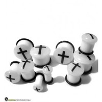 "Glow In The Dark Cross White Plugs (8G - 5/8"") 