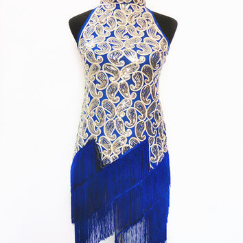 Black/Red/Blue/White/Purple Women 1920s Halter Neck Art Deco Sequin Paisley Flapper Tassel Glam Party Dress S M 8025