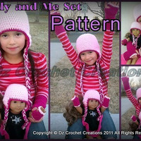 "Crochet 18"" Doll and Girls Earflap Beanie Set - Crochet - Crochet Beanie - 18"" Doll - Pattern - PDF"