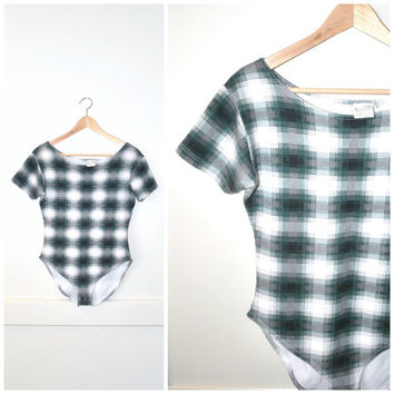 90s GRUNGE plaid BODYSUIT/ vintage 1990s hipster Onesuit bodycon Tshirt