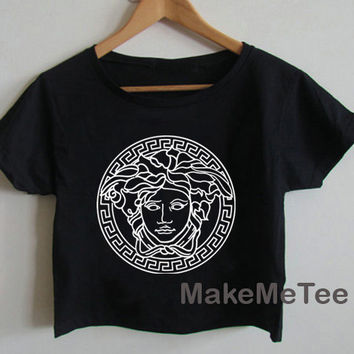 New VERSACE Medusa Printed Crop top Tank Top Women Black and White Tee Shirt - MM3