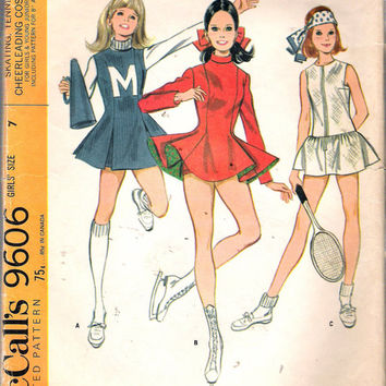 Vintage 1968 McCall's 9606 Skating, Tennis, Cheer-leading, Costume Sewing Pattern Size 7 Breast 26""