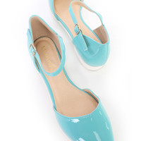 Mint Ankle Strap Pointy Toe Sandal Flats Patent Faux Leather