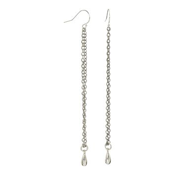 Long sterling silver teardrop earrings also available in Vermeil gold