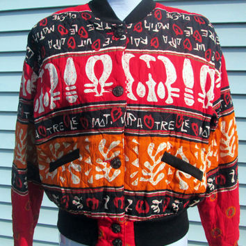 One of a Kind VINTAGE Bomber Style Tribal Jacket