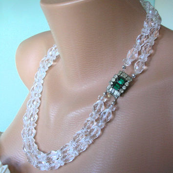 Great Gatsby Jewelry, Bridal Jewelry, Art Deco Jewelry, Emerald Necklace, Crystal Bridal Necklace, Wedding Accessories, Rhinestone, Vintage
