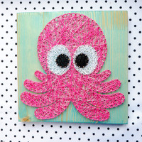Octopus wall art decoration, string art décor perfect for newborns room, nursery or kids' room, pink wall decoration,ocean inspired wall art