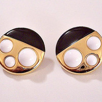 Monet White Black Pierced Post Earrings Gold Tone Vintage Domed White Lucite Beads Large Round Flat Discs Surgical Steel Posts