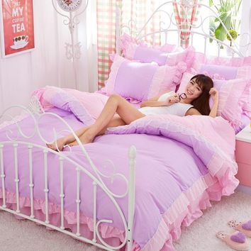 Cool Purple Lace Korean bedding set bedspread beautiful princess style girls solid queen king size Good quality bed sheet duvet coverAT_93_12