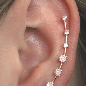 Long CZ Ear Pin - Gold Filled or Sterling Silver -- SINGLE SIDE