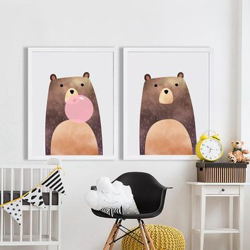 Home - Bear Canvas Painting for Baby Nursery