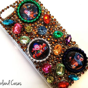 Custom Seven Dwarfs Mine Train Snow White Phone Case Disney Bling iPhone 6 Case Cover Rhinestone Phone Case iPhone 6 5 5S Samsung Galaxy