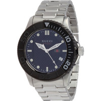 Gucci Men's G-Timeless Stainless Steel Black Dial & Bezel Watch