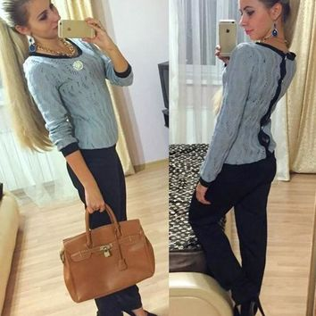 Grey Plain Buttons Hollow-out Loose Fashion Pullover Sweater