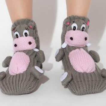 3-D Animal Slipper Sock