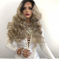 Ash Blond Ombre Swiss Lace Front Wig | Long Waves Soft Layered Hair | Zara 1018 19