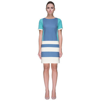 Ocean-Color Striped Dress