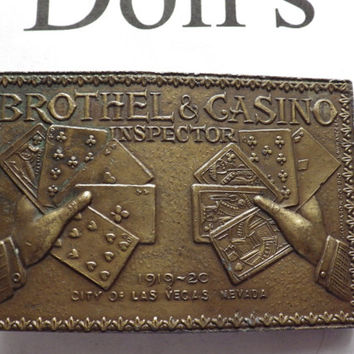 Vintage Brothel & Casino Inspector Rectangle Brass Belt Buckle Napoleon Empereur