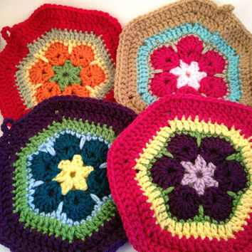 Crochet Pair of African Flower Motif Pot Holder Trivet - Purple, Blue, Pink, Green, Yellow, Orange, Red, Beige