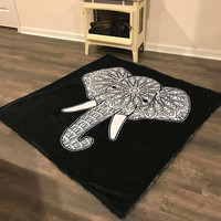 "Color Your Own Mosaic Elephant One Size Blanket • Minky • 50 x 65"" • Tusks • Elephant • Momma • Mosaic • 3-4 Week Turnaround"