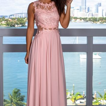 Dusty Pink Lace Top Maxi Dress