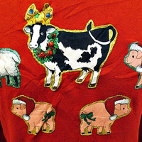 Vintage Christmas Farmyard Festive Cow And Pig Jumper Sweater Medium