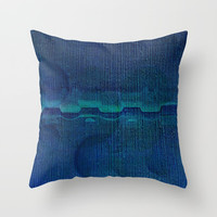 Dark Navy Blue Textured Abstract Throw Pillow by Sheila Wenzel
